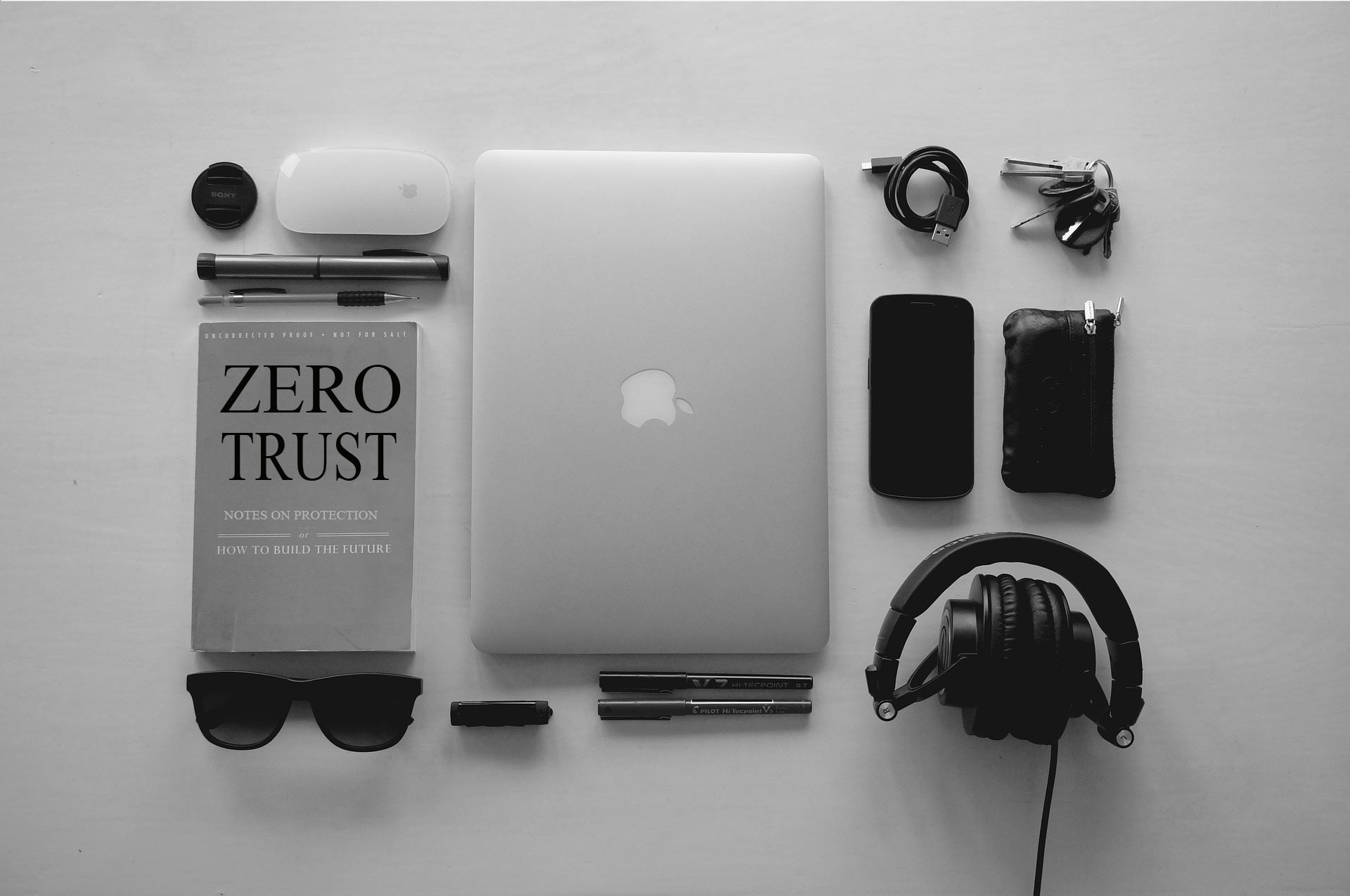 Zero Trust Image with computer book and computer